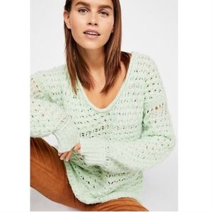 Free People Crashing Waves Mint Green Sweater S